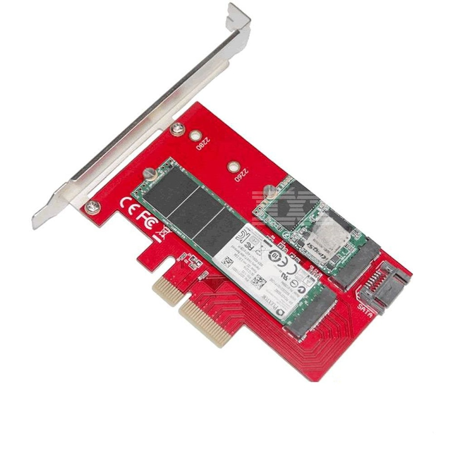 Sedna 2 порта NGFF M.2 B + M ключ SSD к PCI-E PCI Express 4X4 адаптер с низкий кронштейн