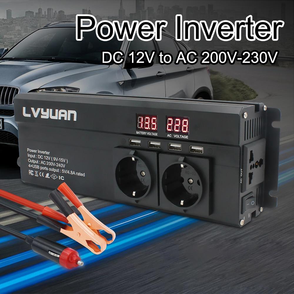 محول طاقة السيارة 6000 وات 12 فولت/24 فولت إلى 220 فولت تيار متردد ، شاشة LED ، قابس الاتحاد الأوروبي ، محول جهد ، محول شاحن