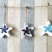 Creative Adorn Crafts Wood Fish/decorated marine pendant For Kid Room Mediterranean Starfish Hung Fish Nautical Decor hang Mini