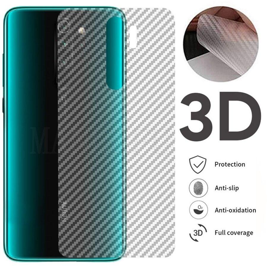 5 pçs/lote 3d claro protetor de tela fibra carbono para xiaomi mi poco x3 10 lite capa traseira película protetora redmi nota 9s 8 9 pro