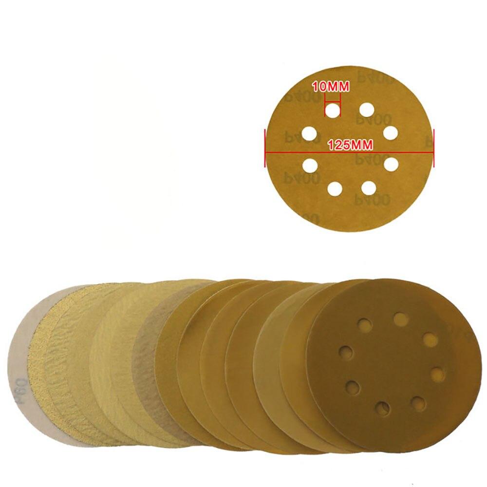 10pcs 5 Inch 125mm Sanding Discs 8-Hole Aluminium Oxide Hook Loop Sandpaper 40 to 1000 Grit for Metal Automotive Wood Polishing