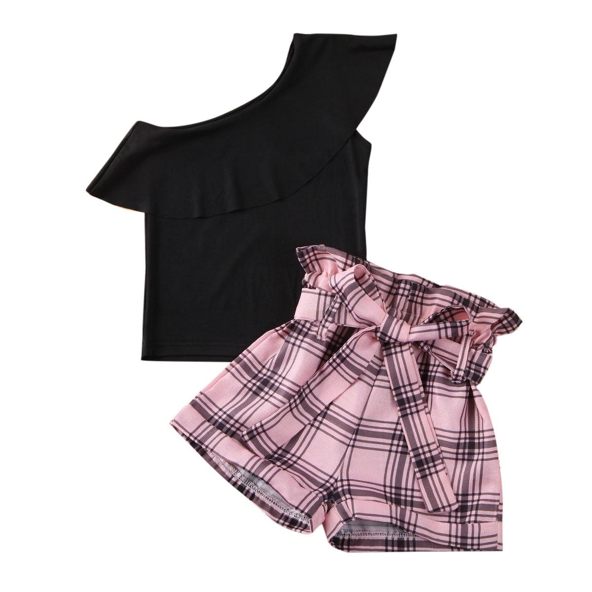 2-7Y Toddler Baby Girls Clothes Sets One Shoulder Ruffles T Shirts Tops Plaid Print Bow Shorts 2pcs