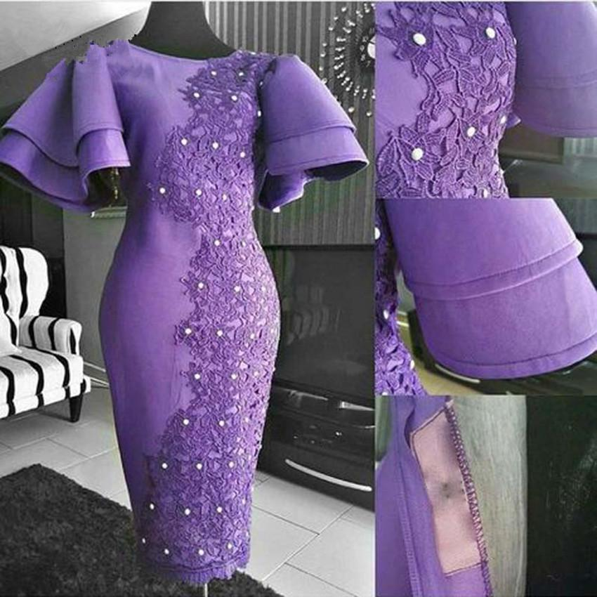 Purple Mother Of The Bride Dresses Tea Length Satin Lace Applique Formal Evening Gowns Puff Sleeves