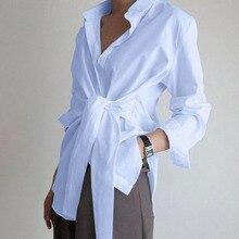 Été 2020 nouvelle mode femmes à manches longues chemise ZANZEA décontracté à lacets chemise élégant revers OL asymétrique haut été