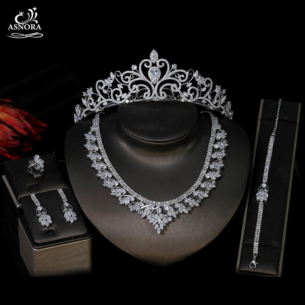 ASNORA موضة 3A زركون غطاء الرأس مجموعة ، مجوهرات الأوروبي المرأة مجوهرات مناسبة ل الزفاف مجوهرات الزفاف مجموعة T0870