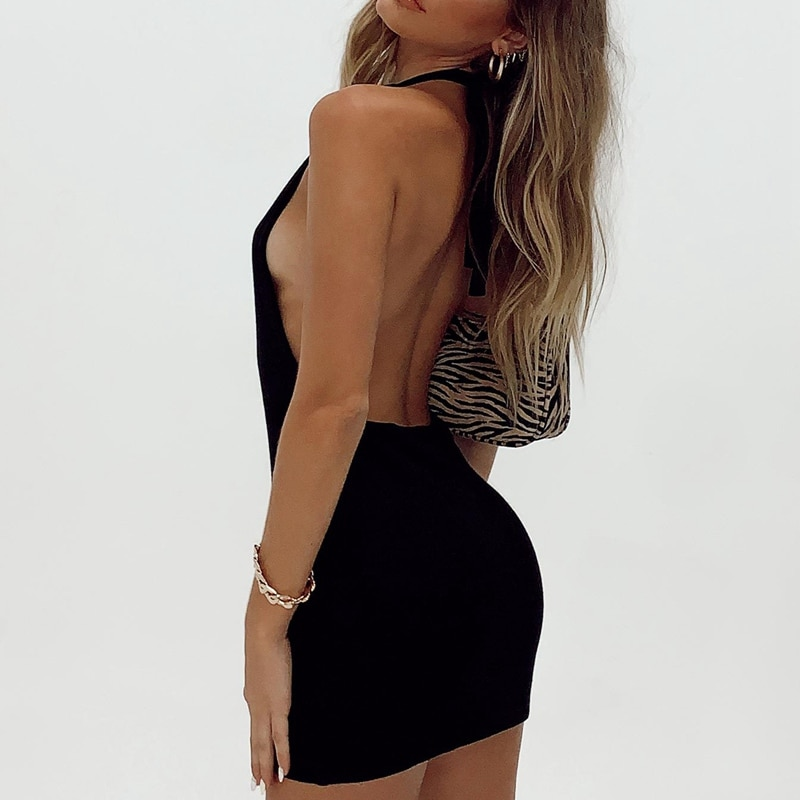Backless Mini Dress Beach Women Halter Neck Sleeveless Summer Black Off Shoulder Party Knit Bodycon Dresses Sexy