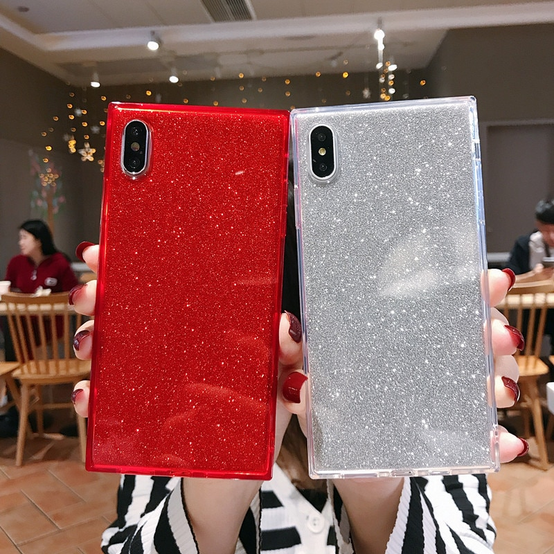 Teléfono carcasa para iPhone 6 6 S 7 7 Plus X XR XS Max cubierta brillante Bling lentejuelas caso para iPhone XS Max XR X 6 S Cubierta
