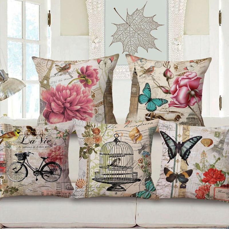 Оптовая продажа, подарок на свадьбу, модный Европейский ретро чехол с цветочным принтом и бабочкой, декоративный чехол для подушки, дом, автомобиль, диван, наволочка для декора