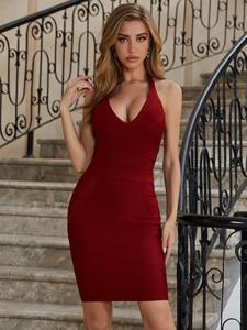 Women Summer Fashion Sexy V Neck Halter Backless Burgundy Bandage Dress 2020 Designer Elegant Evening Party Dress Vestido