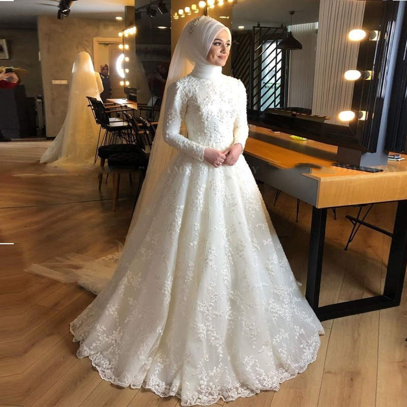 2020 Islamic Ivory Full Lace Pearls Muslim Wedding Dress 2020 Long Sleeves Arabic Bridal Gowns Wedding Dresses свадебное платье
