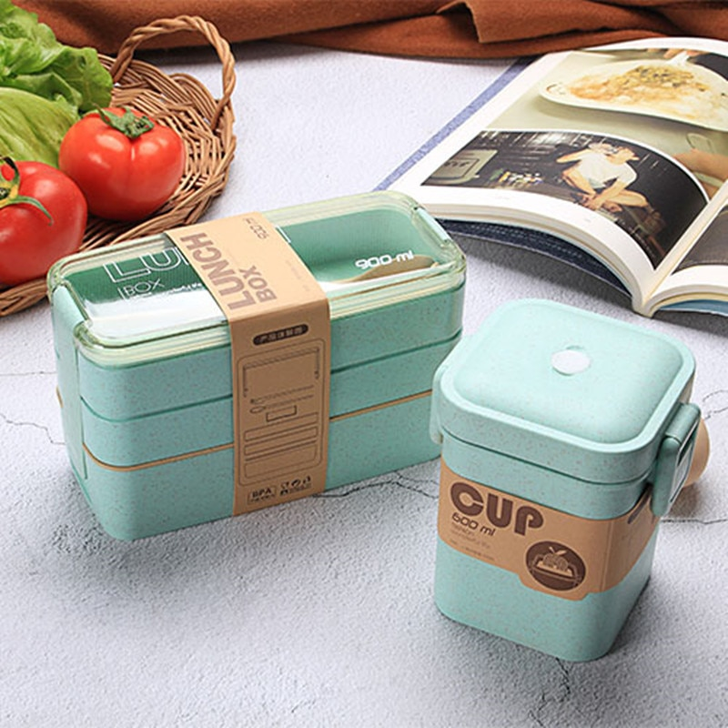 3 Layer Wheat Straw Lunch Box with Bag Japanese Microwave Bento Box with Fork Spoon Food Container for Student Office Staff