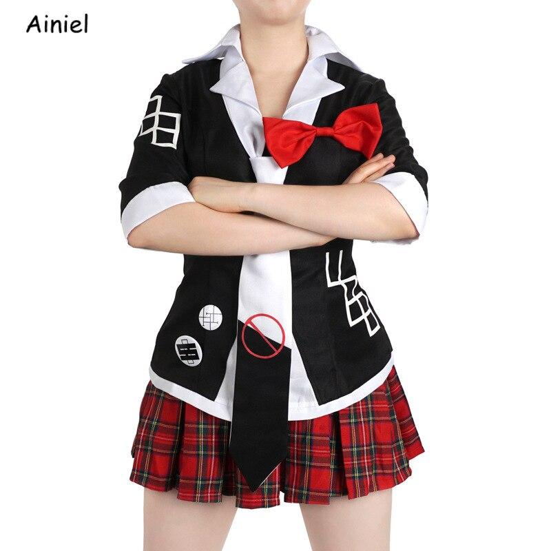 Juego Cosplay Danganronpa disfraz Dangan Ronpa uniformes escolares Junko Enoshima trajes Top y falda trajes Monokuma horquillas pelucas