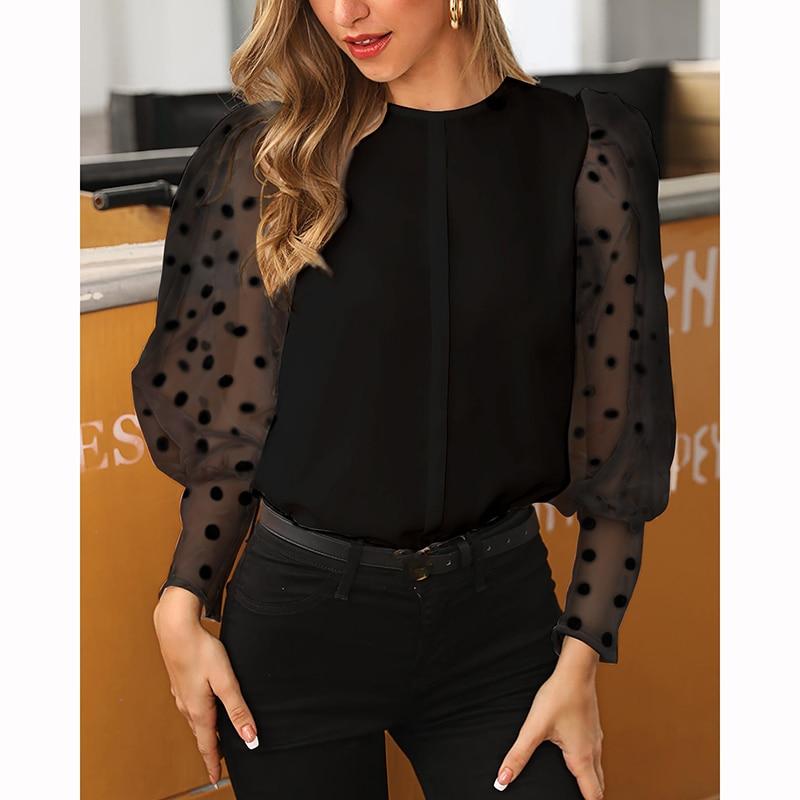 Women Vintage See Through Polka Dot Print Women T-shirt Long Sleeve O-neck Tops