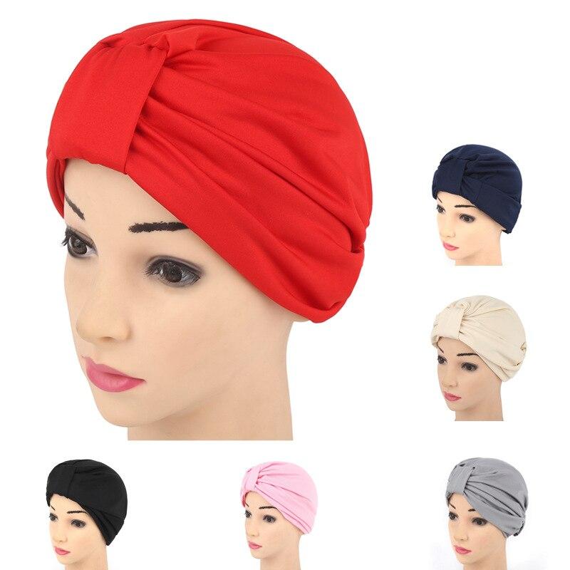 New Fashion Stretch Women Turban Headband Indian Cap Muslim RuffIe Hijab Headwraps Ladies Chemo Cap For Hair Loss Turbante Mujer