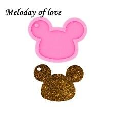 Brillant brillant souris tête forme bricolage résine argile porte-clés moule Silicone moule pour collier DY0055