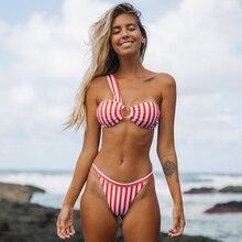 Low Waist Bikinis Women New Striped One Shoulder Sexy Print Bikini Set Swimsuit Bathing Suit Ring Patchwork Swimwear Beachwear
