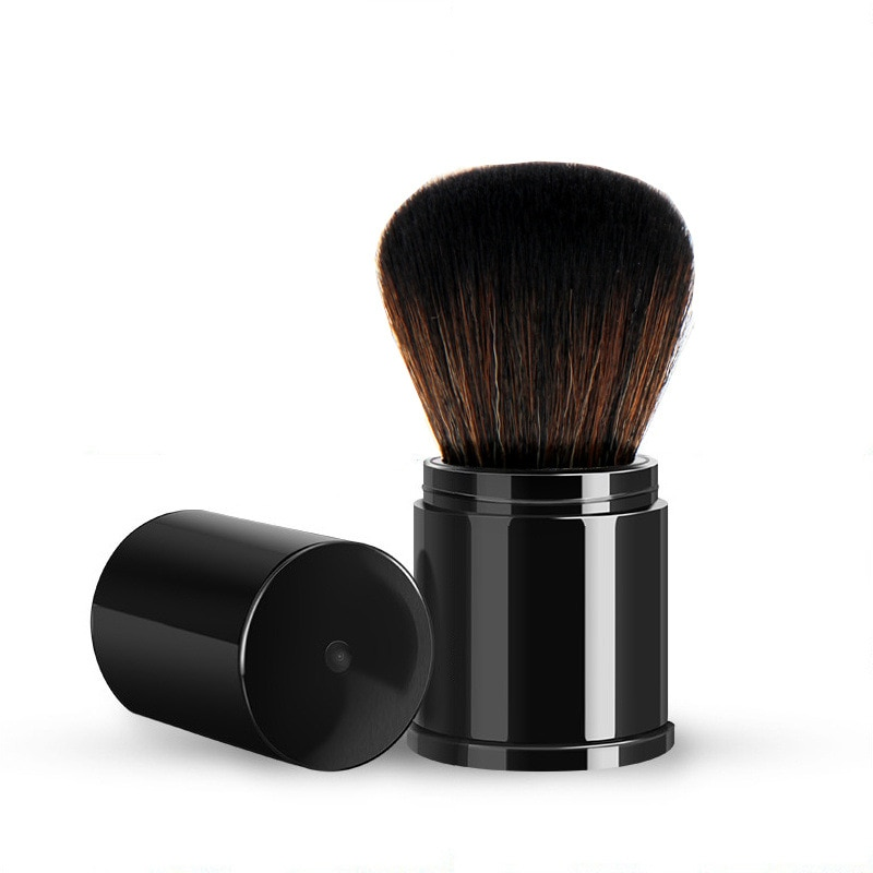 1 pçs mini retrátil portátil blusher rosto escovas 1 pçs solto energia fundação blush maquiagem escova beleza cosméticos ferramentas de viagem
