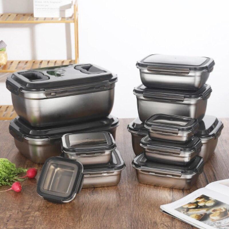 فراغ 304 الفولاذ المقاوم للصدأ عبوة طعام سعة كبيرة المحمولة مانعة للتسرب حاويات تخزين الطعام السفر التخييم الغذاء الحاويات