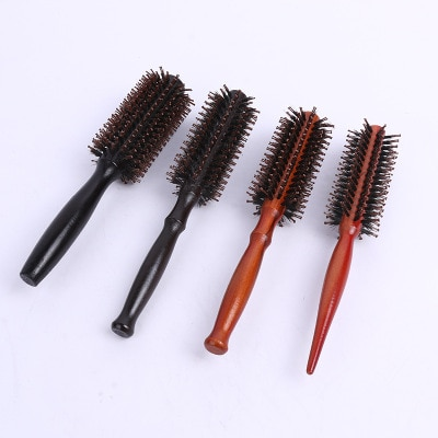 Peine cepillo de pelo portátil redondo antiestático, cepillo para pelo rizado Cerda, mango de madera Natural, peine para pelo con estilo