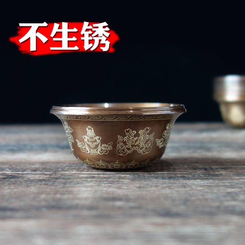 Brass Tibetan Decorative Bowl Nepal Antirust Process Buddha Auspicious Pattern Blessing