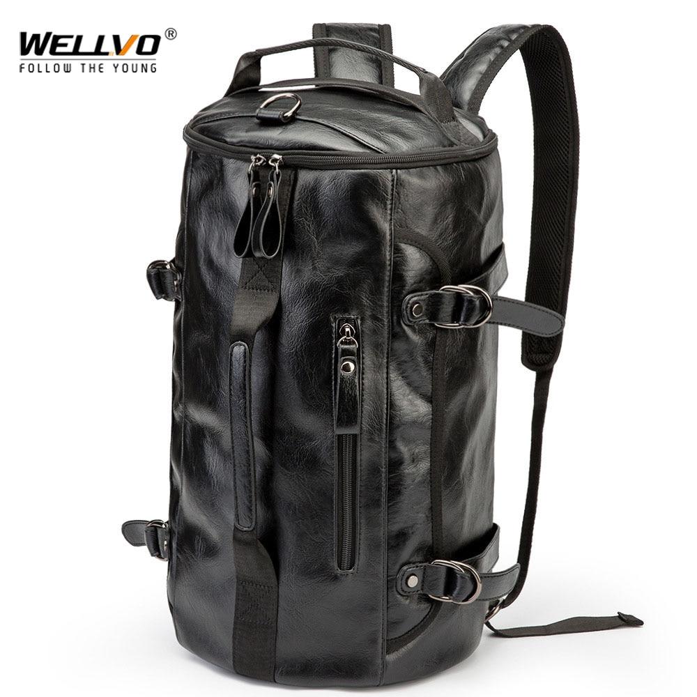 Рюкзак-ведро мужской кожаный, многофункциональная дорожная сумка большой вместимости, чемодан, дорожные сумки на ремне, XA607ZC   АлиЭкспресс