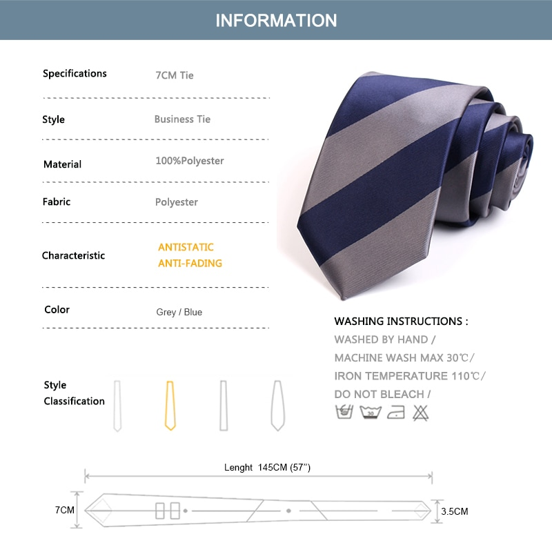 Men's Classic Blue / Grey Striped Neck Tie Fashion Formal Tie High Quality 7CM Ties For Men Business Suit Work Necktie Gift Box