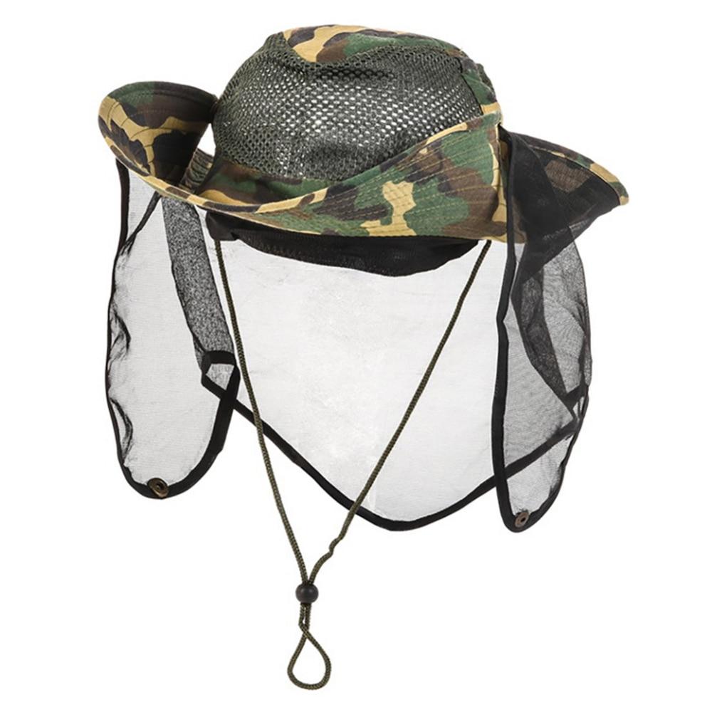 Gorra de camuflaje al aire libre de malla transpirable pequeña malla Anti-insectos Protector de cuello de la red pesca Cap senderismo Camping accesorios suministros