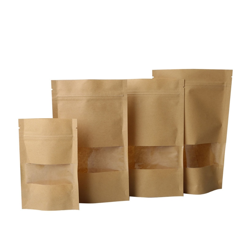 10 Pcs Perspective Brown Kraft Paper Gift Candy Bags Wedding Packaging Bag Recyclable Food Bread Party Shopping Bags Ziplock Bag