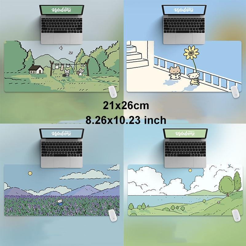 Толстый коврик для мыши 21 х26 см с изображением кошки и кролика, HD, зеленый, милый персонализированный игровой коврик для клавиатуры с милыми ...