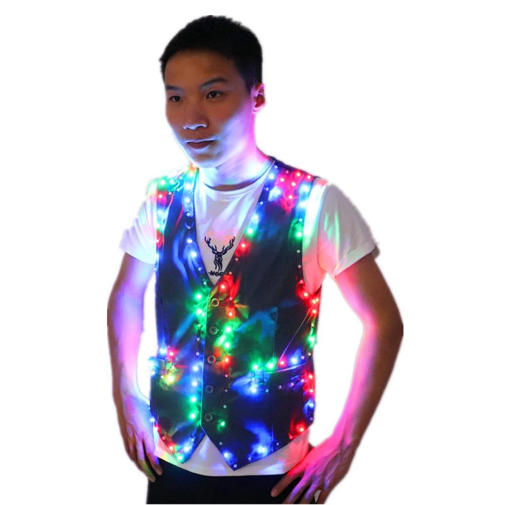 الملونة Led مضيئة سترة قاعة الرقص زي سترة DJ المغني راقصة أداء المرحلة ارتداء النادل الملابس