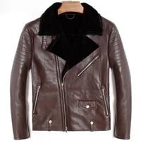 mens genuine leather bomber pilot jacket sheepskin winter thick warm liner cashmere fur collar black luxury coats plus size 5xl