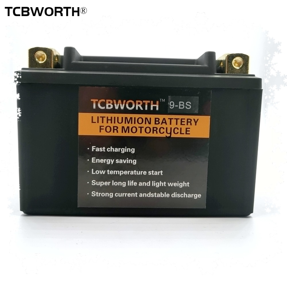 TCBWORTH 9-BS 12 فولت CCA 350A LiFePO4 دراجة نارية بطارية بادئ تشغيل 6Ah سكوتر ليثيوم بطارية مع نظام إدارة البطارية YTX9-BS ل ATVs جت سكي