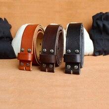 Western genuine leather men belt cowskin leather strap black cowboy jeans pin buckle strap