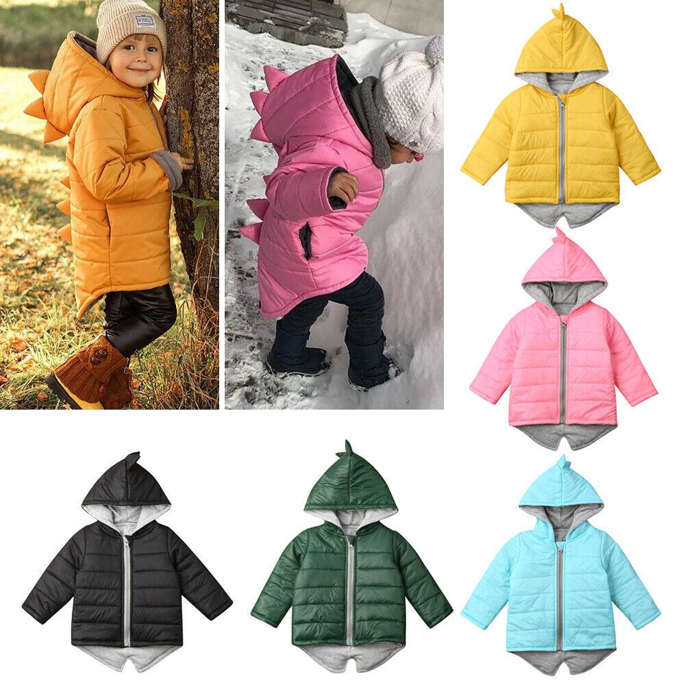 1-7T Kids Toddler Baby Girl Boy Hoodie Zipper Winter Thick Coat Warm Jacket 3D Dinosaur Outwear Coats Jackets
