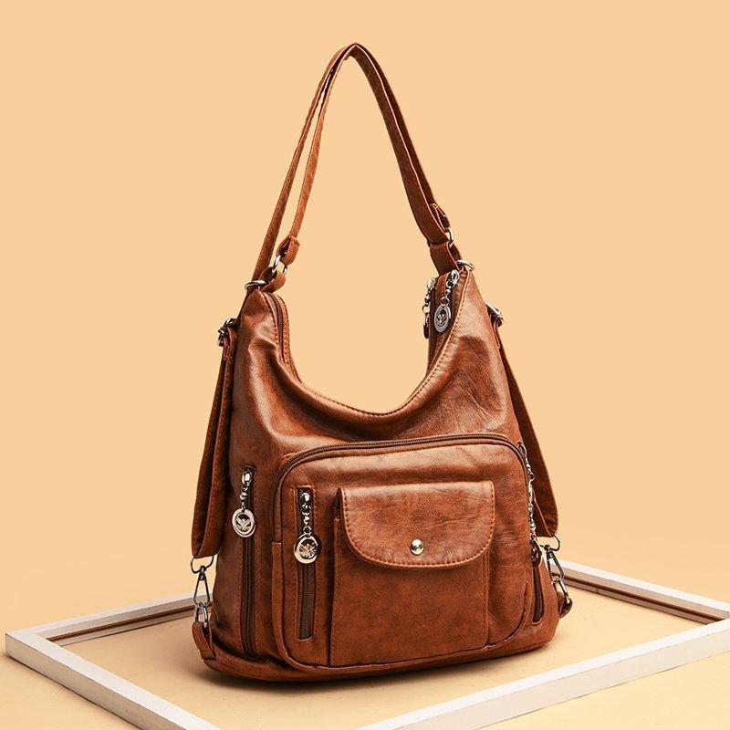 حقيبة يد جلدية عتيقة للنساء ، حقيبة كتف مصممة ، حقيبة يد كبيرة للنساء