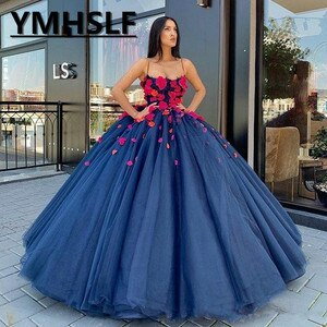 Luxury Ball Gown Prom Dresses Spaghetti Lace 3D Floral Appliqued Floor Length Evening Gowns Custom Made Gorgeous Special Dress
