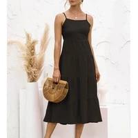 2021 black halter sexy backless dress women spaghetti strap ruffles splice madi dresses summer solid color sweet boho long dress