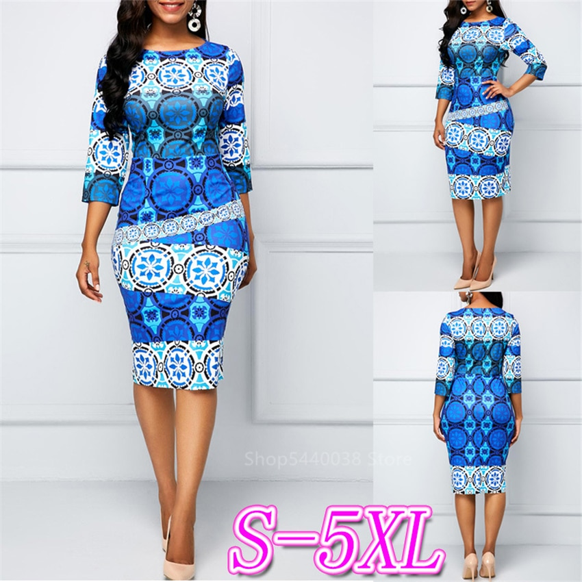 Ropa de mujer primavera 2020 Vestidos africanos para mujer Dashiki con estampado Bazin nuevos Vestidos de talla grande ajustado moda étnica estilo Robe