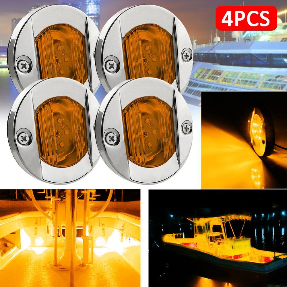 Branco quente 6 led 12v luz da cauda do barco escada deck lado marcador luz cortesia luzes pisca indicador de sinal marinho acessórios do barco