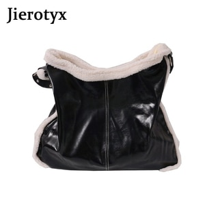 JIEROTYX Fashion Fur Large Capacity Shoulder Tote Bag For Women New Trendy Shopping Bag For Groceries Black Leather PU Hobos