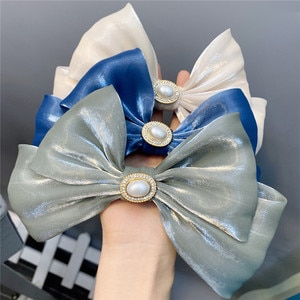 CN Large Pearl Gem French Hair Clips For Women Girls Sweet Double Layers Bowknot Rhinestone Hair Bows Hairpins Hair Accessories