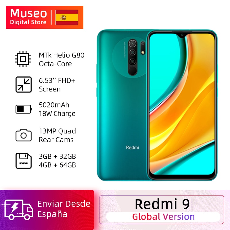 "Versión Global Xiaomi Redmi 9 teléfonos móviles Helio G80 32GB / 64GB 6,53 ""FHD pantalla 13MP AI Quad cámaras Smartphone 5020mAh"