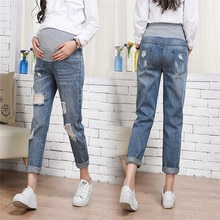 Women Maternity Jeans Elastic Waist Ripped Stretch Denim Pregnant Belly Jeans Autumn Spring Pants Pr