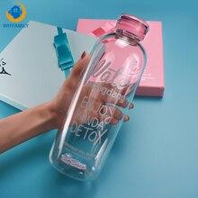 Cam şişe 600ml 1000ml yaratıcı taşınabilir öğrenci büyük kapasiteli sevimli şeffaf taşınabilir spor içecek su şişesi
