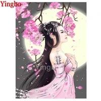 5d diy diamond painting classical oriental beauty cherry blossom moon cross stitch full squareround diamond mosaic embroidery