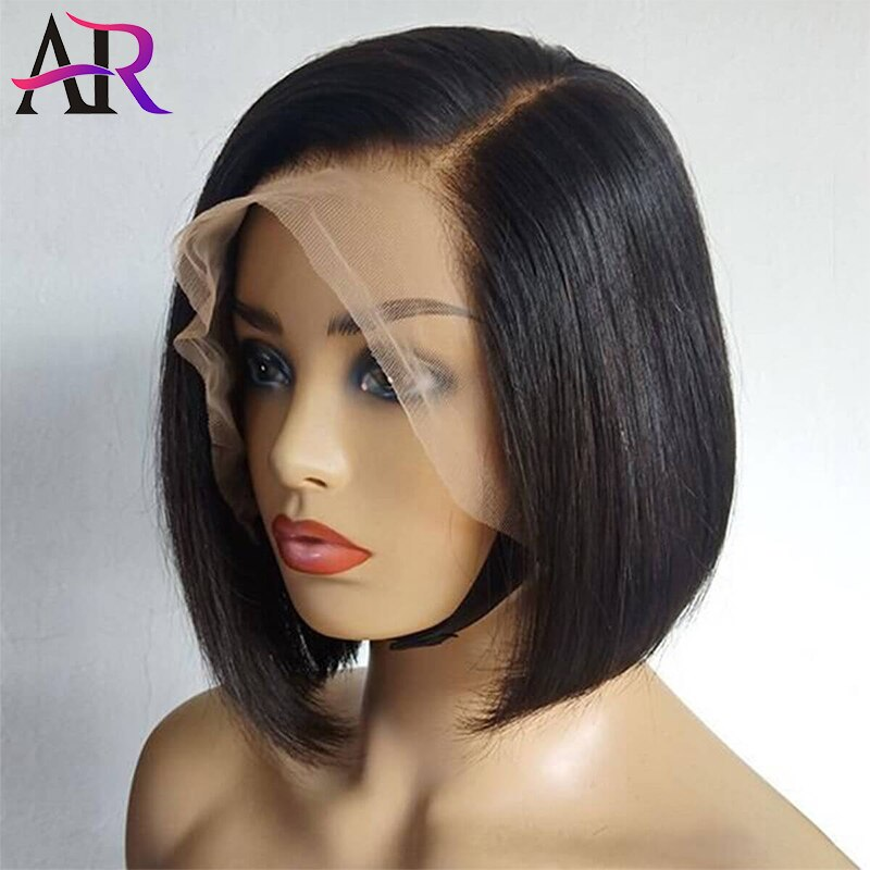 A&R 10 inches Side Part Short Bob Wig Straight Short Bob Lace Front Human Hair Wigs Nature Color Remy Glueless Bob Wig for Women