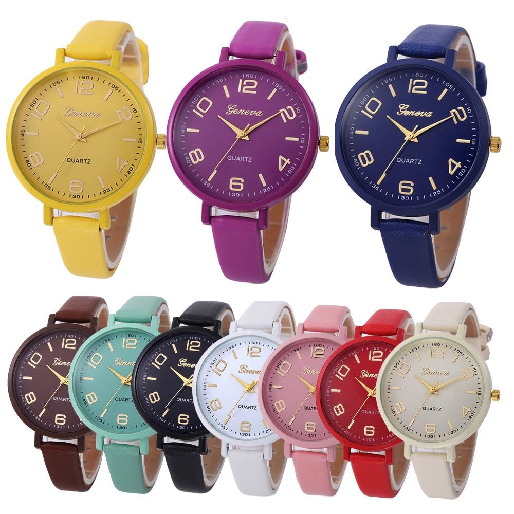Women's Wristwatch Casual Quartz PU Leather Wristwatch Analog Ladies Simple Leather Deployment Bucke