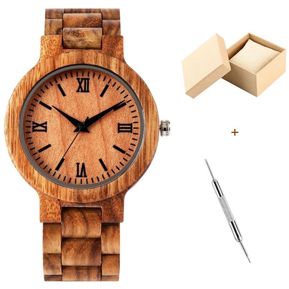 Relógio de madeira marrom para masculino quartzo relógio de madeira banda relógio de pulso casual numeral romano preto analógico masculino relógios presentes