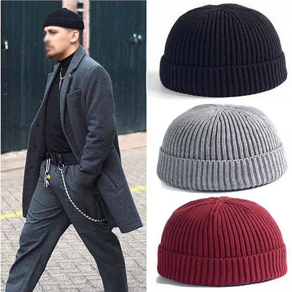Зима 2021, мужская вязаная короткая шапка с манжетами, мужская вязаная шапка, Шапка-бини, Шапка-бини с черепом, Матросская шапка, шапка без козы...