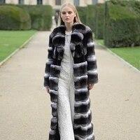 130cm x long real chinchilla color rex rabbit fur coat with turn down collar luxury women winter new fur overcoats rabbit fur